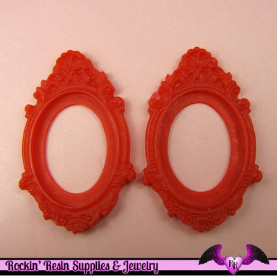 2 pcs 30x40mm Inset Victorian Resin CAMEO SETTING Base Bezel in Red - Rockin Resin  - 1