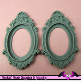 2 pcs 30x40mm Inset Victorian Resin CAMEO SETTING Base Bezel in Light Slate Blue Grey - Rockin Resin