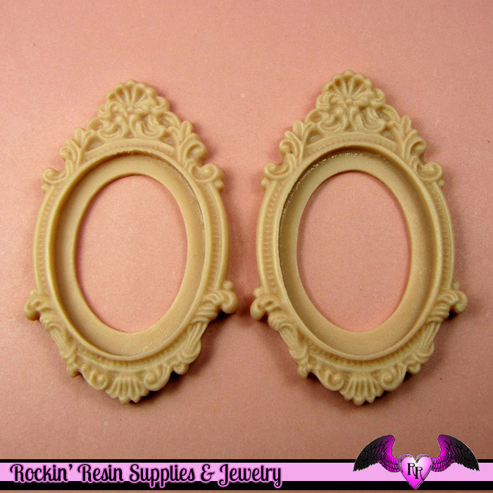 2 pcs 30x40mm Inset Victorian Resin CAMEO SETTING Base Bezel in Beige Pink - Rockin Resin  - 1