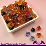 40 pcs Faceted Small Acrylic DROP CRYSTALS Beads or Charms Halloween or Fall Color Mix - Rockin Resin  - 2