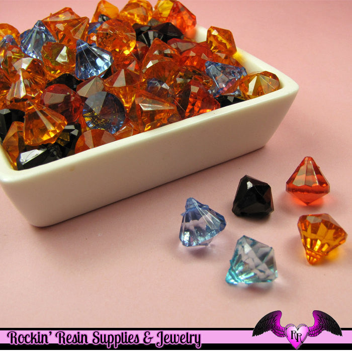 40 pcs Faceted Small Acrylic DROP CRYSTALS Beads or Charms Halloween or Fall Color Mix