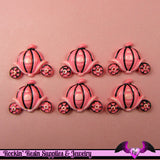 4 pcs Pink Pumpkin Carriage Resin Flatback Decoden Kawaii Cabochon - Rockin Resin  - 2