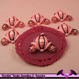 4 pcs Pink Pumpkin Carriage Resin Flatback Decoden Kawaii Cabochon - Rockin Resin  - 1