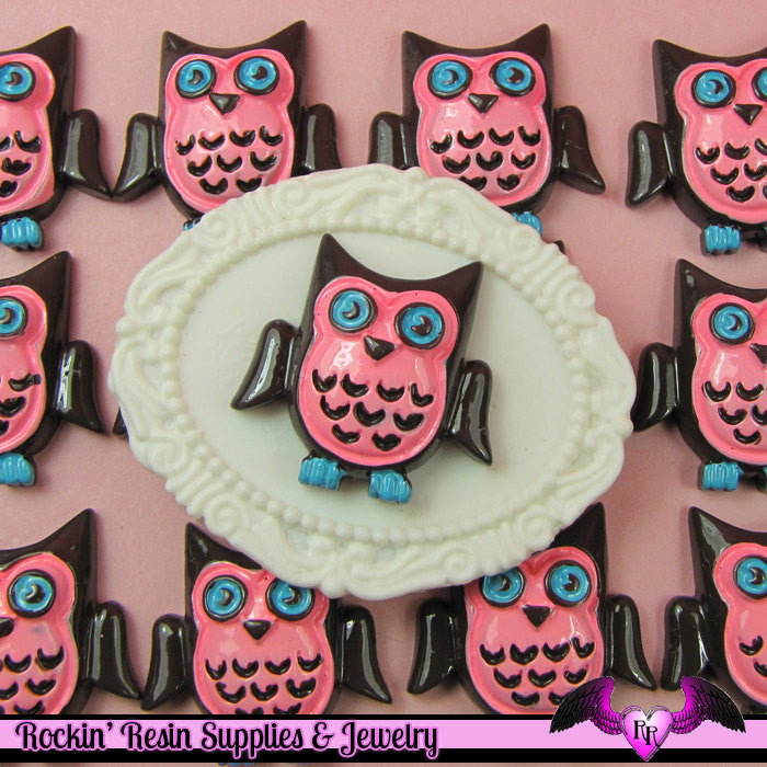 4 pcs Pink and Blue OWL  Resin Flatback Decoden Cabochon 26x26mm
