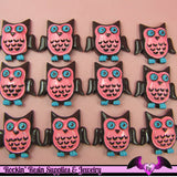 4 pcs Pink and Blue OWL  Resin Flatback Decoden Cabochon 26x26mm - Rockin Resin  - 2