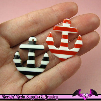 4 pcs Red and Black NAUTICAL ANCHORS Resin Flatback Decoden Cabochons or Charms - Rockin Resin  - 1