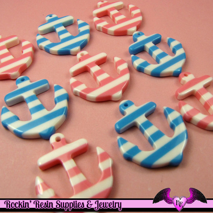 4 pcs Pink and Blue NAUTICAL ANCHORS Resin Flatback Decoden Cabochons or Charms