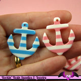 4 pcs Pink and Blue NAUTICAL ANCHORS Resin Flatback Decoden Cabochons or Charms - Rockin Resin  - 2