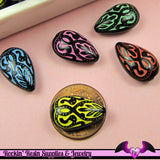 20 Etched Design TEARDROP Black Acrylic Beads 18 x 11 mm Pretty Mixed Assortment - Rockin Resin  - 4