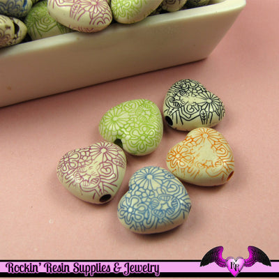 30 Etched HEART Antique Style Acrylic Beads 15x16mm Mixed Colors - Rockin Resin  - 1