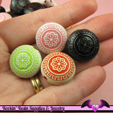15 Etched LENTIL Floral Antique Style Acrylic Beads 19mm Mixed Colors - Rockin Resin  - 1