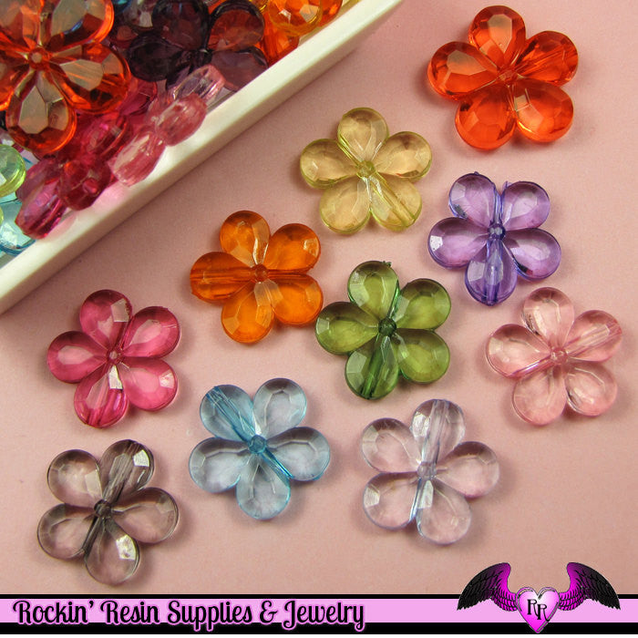 25 pcs FACETED FLOWER Bright Transparent Acrylic Beads, now with center hole, Mixed Colors