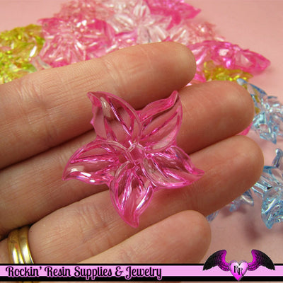15 pcs Lilly FLOWER Pretty Transparent Acrylic Beads Mixed Colors - Rockin Resin  - 1
