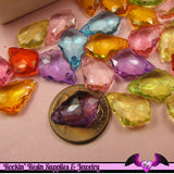 25 pcs BAROQUE SHAPED Small Drop Acrylic Faceted Crystals Beads or Charms Bright Transparent Mix 16 x 11 mm - Rockin Resin  - 3
