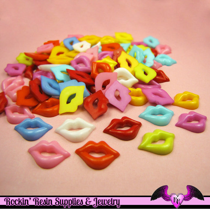10 pcs BRIGHT LIPS Resin Flatback Decoden Cabochons 18 x 12 mm