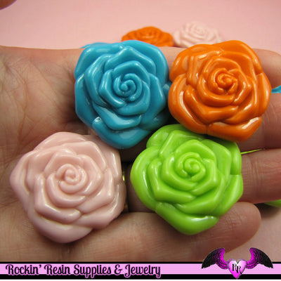 8 ROSE BEADS Large DOuBLE SIDeD Acrylic Pink Orange Green and Blue Bead Mix 31mm - Rockin Resin  - 1