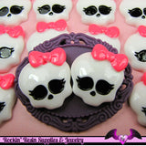 4 pc SKULL HEAD with BOW Resin Kawaii Decoden Cabochons 26x23mm - Rockin Resin  - 1