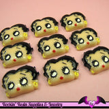 BETTY BOOP Head Resin Decoden Flatback Cabochons 25x19mm (4 pieces) - Rockin Resin  - 3