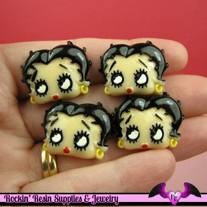 BETTY BOOP Head Resin Decoden Flatback Cabochons 25x19mm (4 pieces) - Rockin Resin  - 1