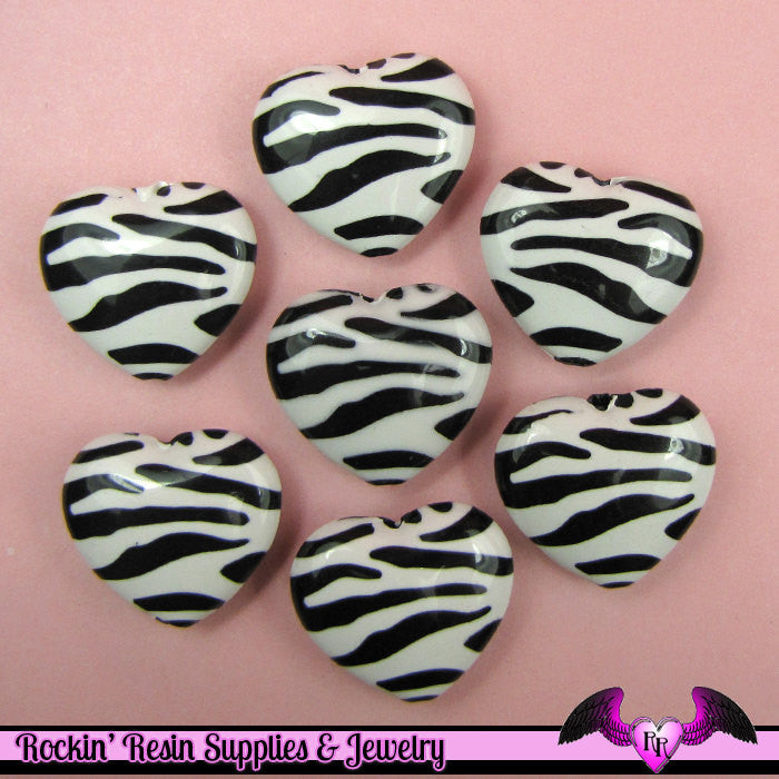 8 pc ZEBRA HEART Animal Print Beads 26x24mm - Rockin Resin  - 1