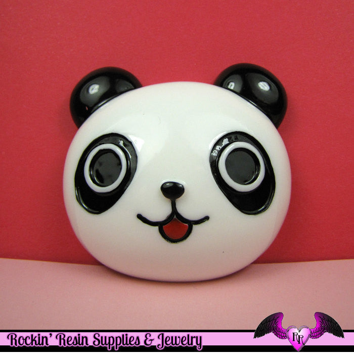 XL PANDA BEAR Head Resin Decoden Kawaii Cabochon  61x60mm - Rockin Resin  - 1