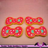 2 pc POLKADOT KAWAII BOW Flatback Decoden Cabochon 30x49mm - Rockin Resin  - 2