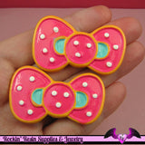 2 pc POLKADOT KAWAII BOW Flatback Decoden Cabochon 30x49mm - Rockin Resin  - 1
