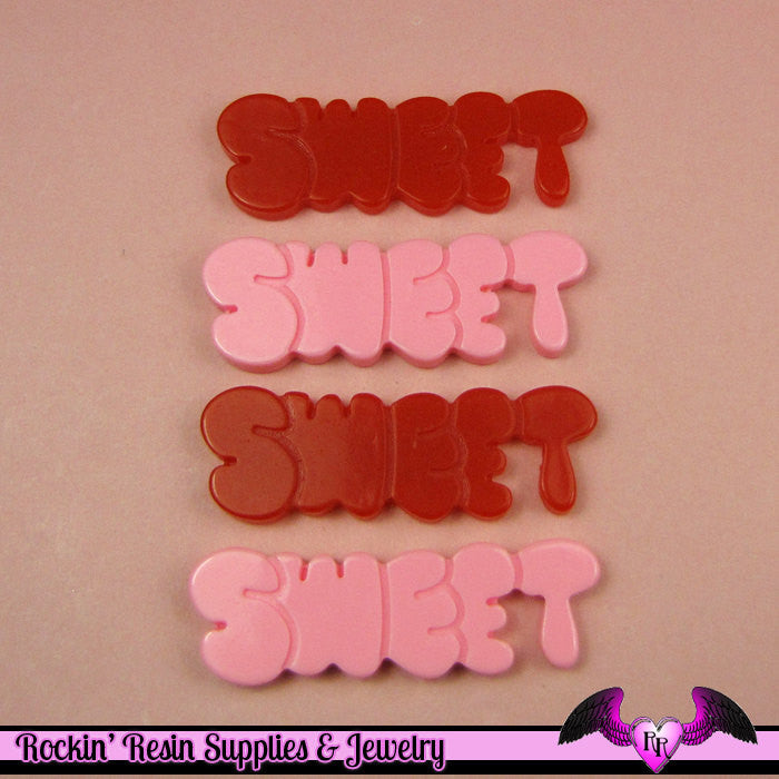 4 Pcs Sweet Word Saying Decoden Flatback Resin Cabochon 43x14mm
