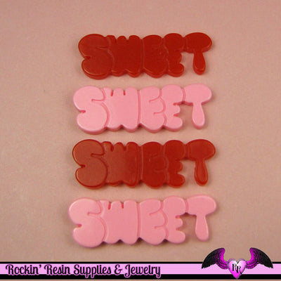 4 Pcs SWEET Word Saying  Decoden Flatback Resin Cabochon 43x14mm - Rockin Resin