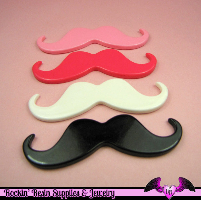 4 pcs XL HANDLEBAR MUSTACHES Resin Decoden Flatback Kawaii Cabochons 77mm in Black, White, and Light and Dark Pink - Rockin Resin  - 1
