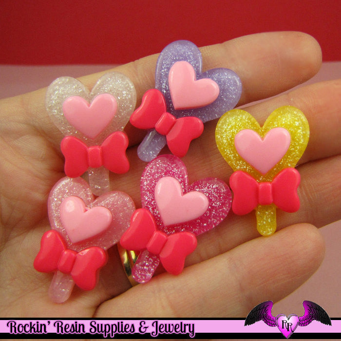 5 glitter HEART LOLLIPOP with BOW Kawaii Decoden Flatback Cabochon 27x20mm