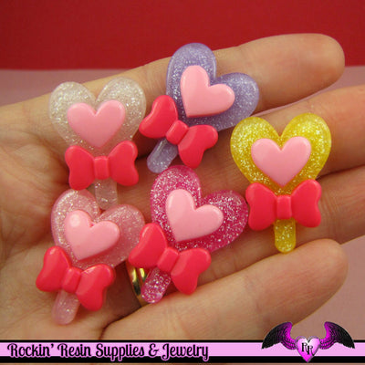 5 glitter HEART LOLLIPOP with BOW Kawaii Decoden Flatback Cabochon 27x20mm - Rockin Resin
