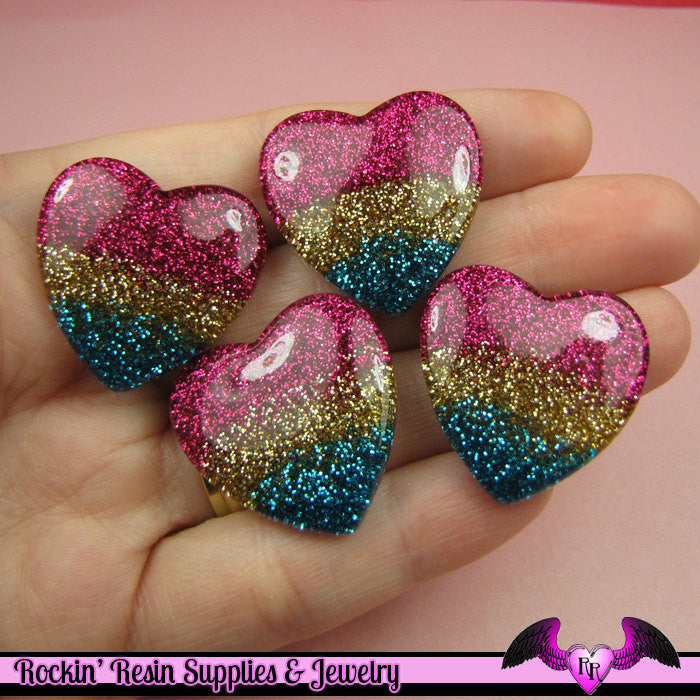 4 Pcs Super Sparkly GLITTER HEARTS Resin Decoden Flatback Cabochons 27x27mm