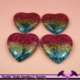 4 Pcs Super Sparkly GLITTER HEARTS Resin Decoden Flatback Cabochons 27x27mm - Rockin Resin  - 2