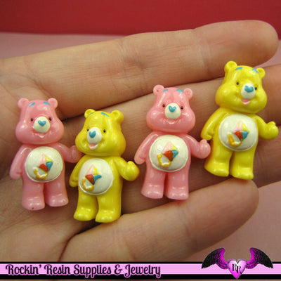 4 Pcs Pink and Yellow BEAR Flatback Resin Decoden Kawaii Cabochons 19x28mm - Rockin Resin  - 1
