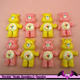 4 Pcs Pink and Yellow BEAR Flatback Resin Decoden Kawaii Cabochons 19x28mm - Rockin Resin  - 2