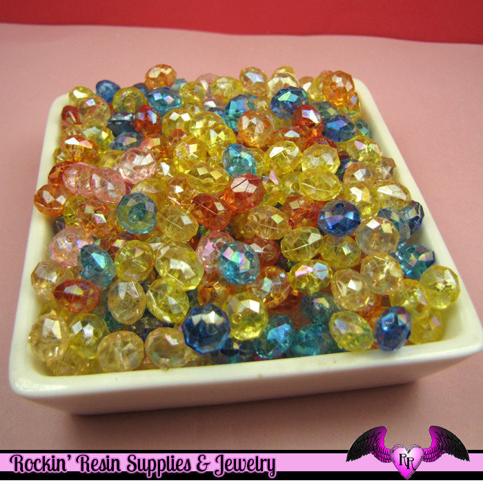 100 pcs Faceted Rondelle AB Acrylic Beads 6mm x 8mm - Rockin Resin  - 1