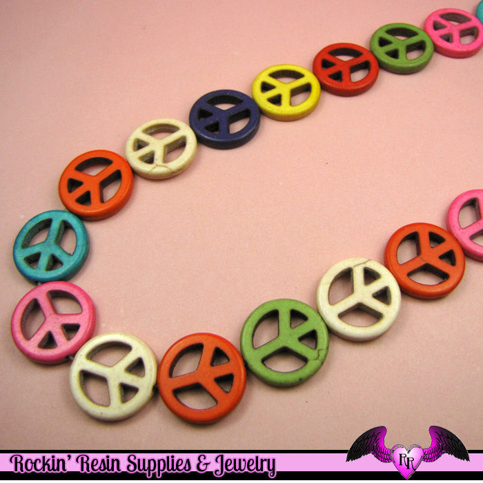 18 pcs PEACE SIGN Faux Turquoise Howlite Beads Assortment mm - Rockin Resin  - 1