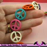 18 pcs PEACE SIGN Faux Turquoise Howlite Beads Assortment mm - Rockin Resin  - 2
