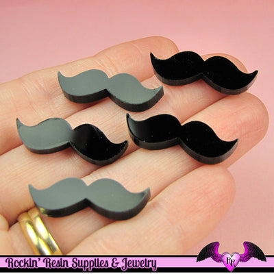 5 pc HANDLEBAR MUSTACHES in Black Flatback Decoden Laser Cabochons 9x27mm - Rockin Resin  - 1
