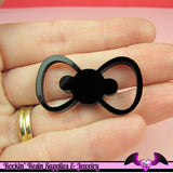 3 pc BOW in Black Flatback Decoden Laser Cabochons 38x21mm - Rockin Resin  - 1