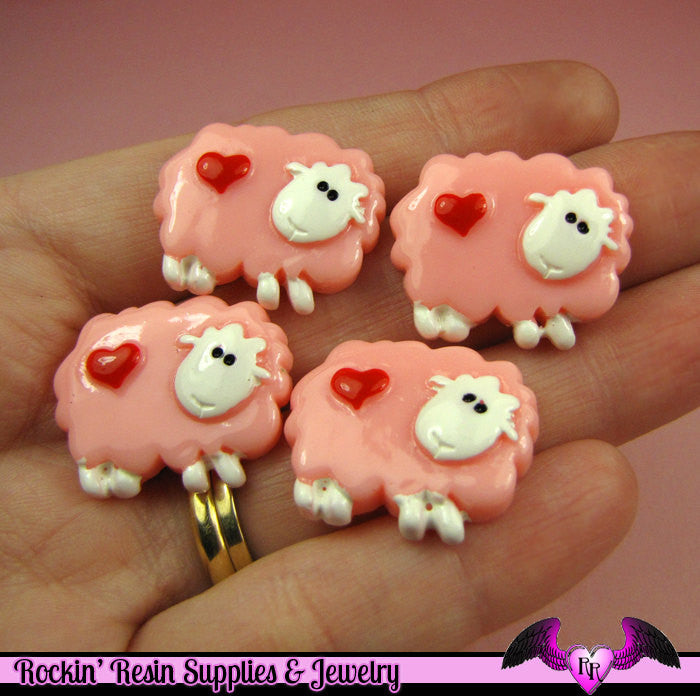 4 pc PINK SHEEP with Red Heart Flatback Kawaii Cabochons 24x19mm