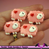 4 pc PINK SHEEP with Red Heart Flatback Kawaii Cabochons 24x19mm - Rockin Resin
