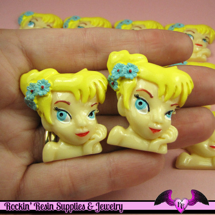 4 pc Blonde Fairy Girl Kawaii Flatback Decoden Cabochon 34 x 33 mm