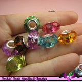 8 pcs European Style Faceted Acrylic Riveted Beads 14 x 8mm with 5mm hole - Rockin Resin  - 1
