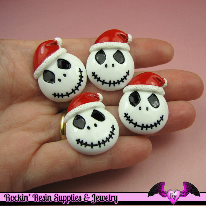4 pc Santa Hat Skeleton Head Decoden Flatback Cabochon Cellphone Decoration