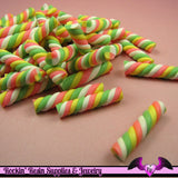 10 pc MARSHMALLOW Twist Sticks Candy Fimo Cabochons - Rockin Resin