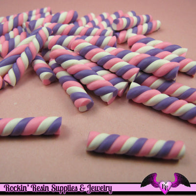 10 pc pastel MARSHMALLOW Twist Sticks Candy Fimo Cabochons - Rockin Resin