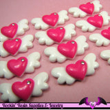 5 Pcs HEART WITH WINGS Flatback Kawaii Decoden Cabochons 29x13mm - Rockin Resin  - 2