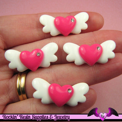 5 Pcs HEART WITH WINGS Flatback Kawaii Decoden Cabochons 29x13mm - Rockin Resin  - 1